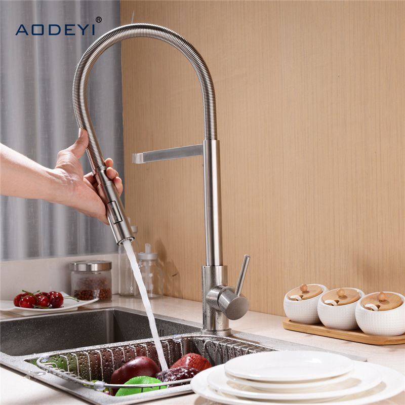 Double Mode 304 Stainless Steel Spring Kitchen Faucet Sink Mixer Tap Swivel Spout Mixer Tap Hot And Cold Water Sink Mixer Taps Kitchen Faucet Kitchen Fixtures