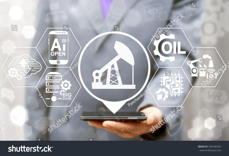 Oil Industry 4 0 Integration Concept Ai Iot Big Data Computing Robotic Cloud Information Technology Fuel Oil Industry Web Design Tutorials Location Icon