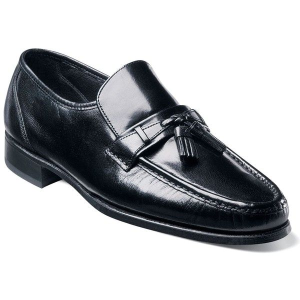 Florsheim Como Moc Toe Tassle Loafers ($110) ❤ liked on Polyvore featuring men's  fashion, men's shoes, men's loafers, black, mens black loafers shoes, mens  ...