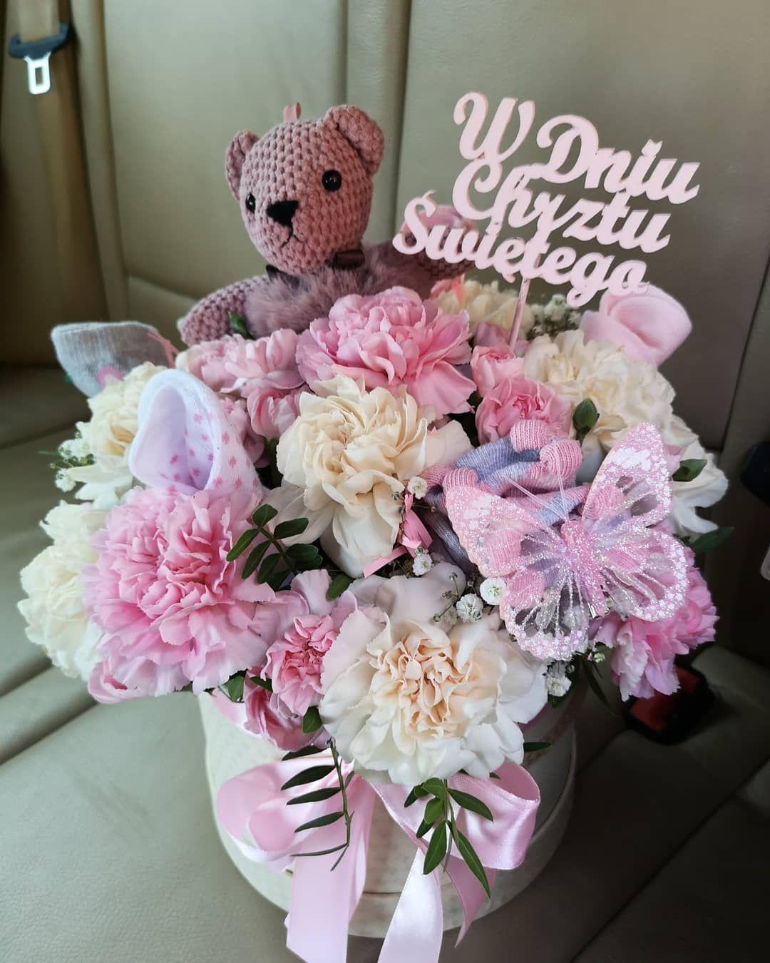 Box Na Chrzciny Box Flowers Flowerbox Kwiaty Mis Bear Handmade Rekodzielo Kwiaciarnia Kwiaciarniaroku Beauty Flower Boxes Floral Wreath Floral