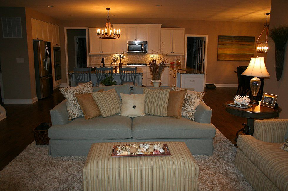 Coastal Family Room - soft furnishings, calm color palette, rustic textured accessories fill this space.