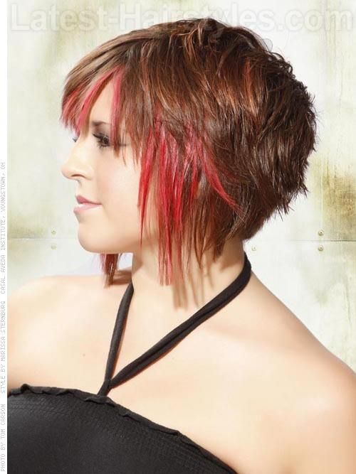Bright Red Highlighted Angled Cut Shorter In The Back