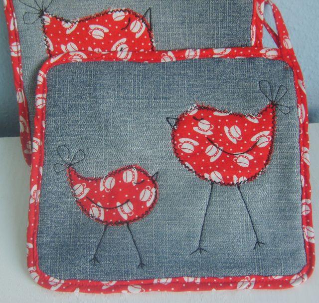 Little Birds potholder | DIY - Soft Kitchen accessories | Pinterest ...