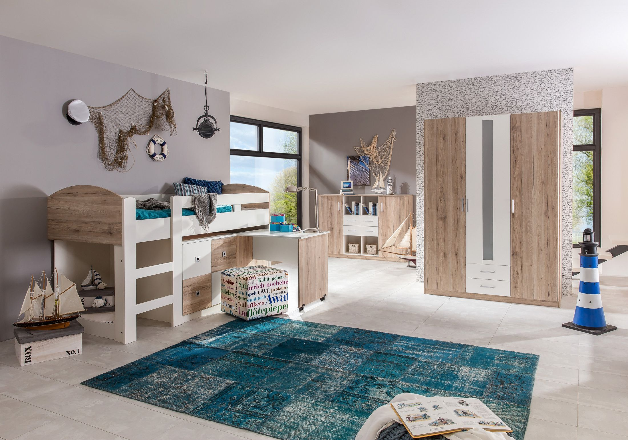 Kinderzimmer komplett hochbett  Jugendzimmer Mit Bett 90 X 200 Cm Eiche Sanremo/ Alpinweiss Woody ...