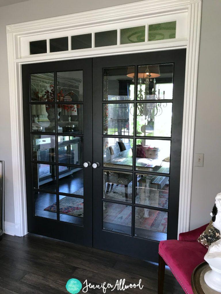 Diy painted black french doors black french doors