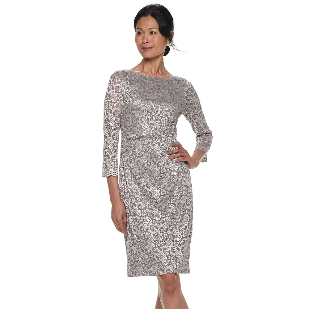 0a81373aca08 Petite Jessica Howard Lace Sheath Dress, Women's, Size: 14 Petite, Dark  Beige