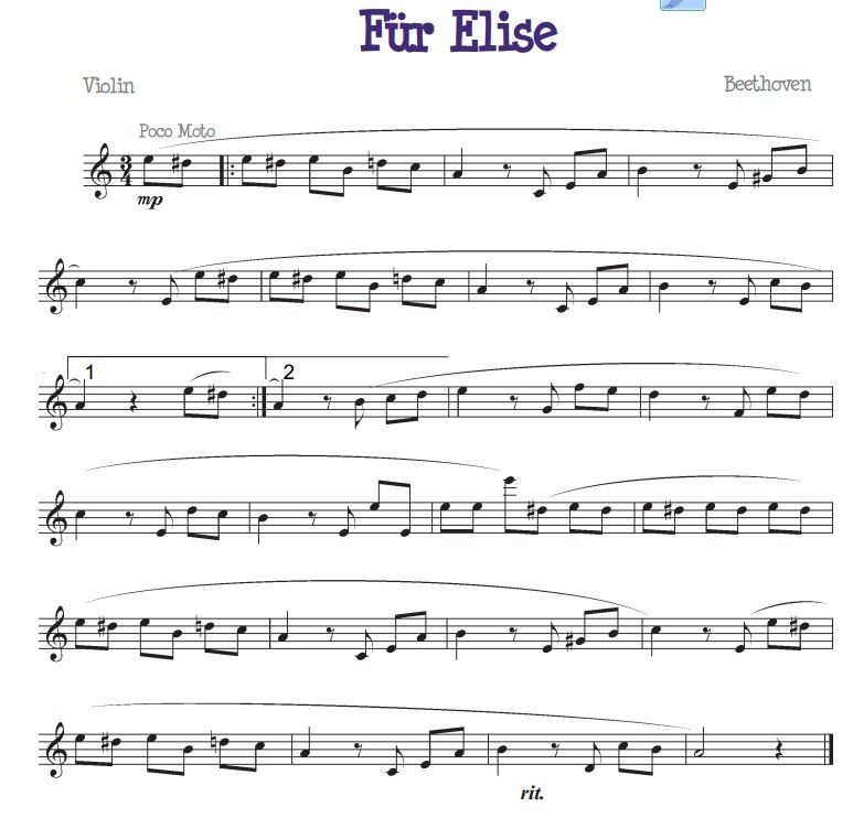 Fur Elise For The Beginner Violinist With Images Violin Sheet
