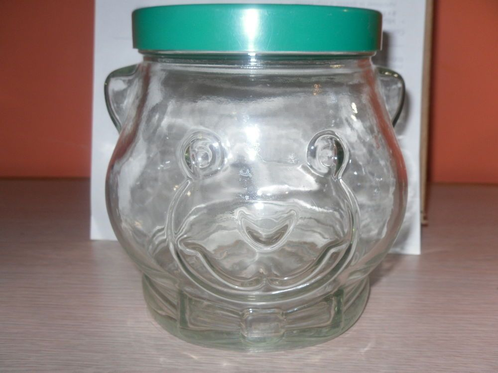 vintage kraft peanut butter large glass jar bear head with lid ebay - Large Glass Jars