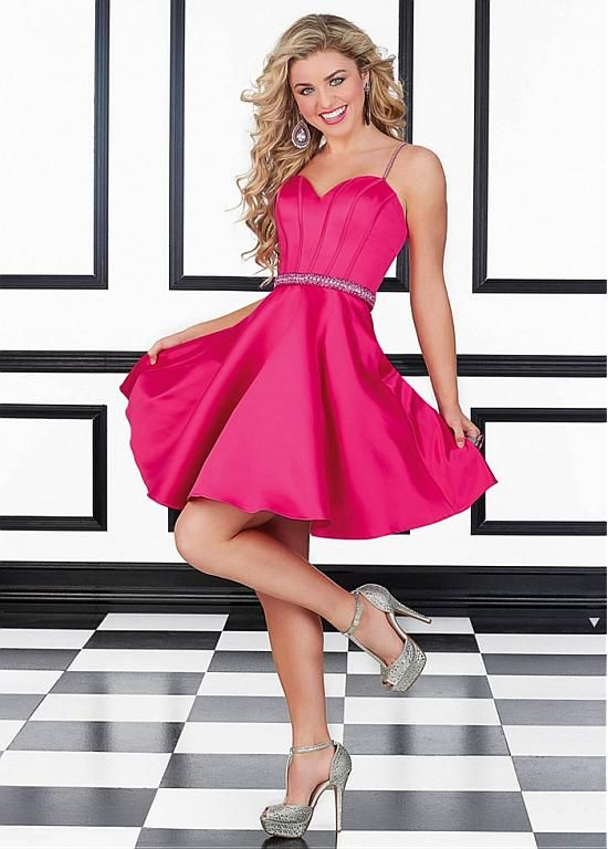 Marvelous Satin Spaghetti Straps A-Line Short Homecoming Dresses ...