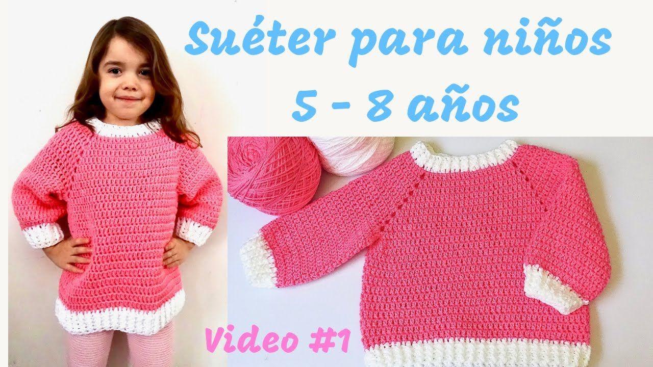 Suéter o Pullover Tejido a Crochet para niños 58 años