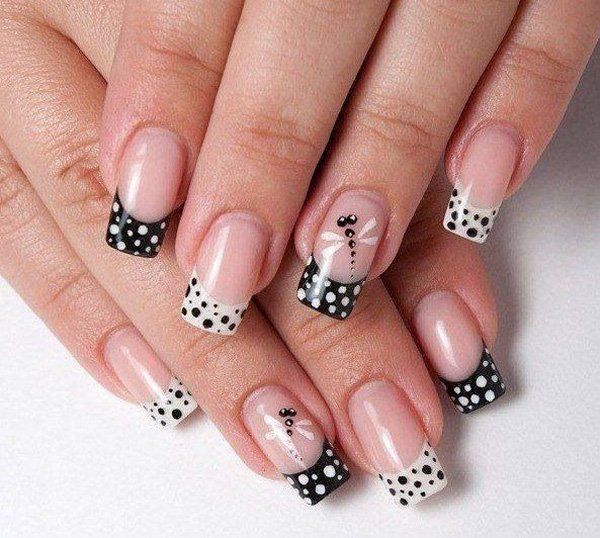 French Nails With Black And White Polka Dots Dragonfly