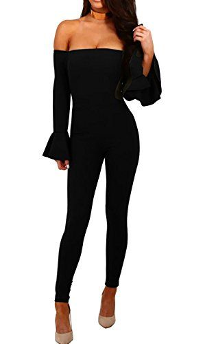 821dc7f39e759a LADYA Women Sexy Off Shoulder Long Sleeve Flare sleeve Slinky Jumpsuit  Solid Color