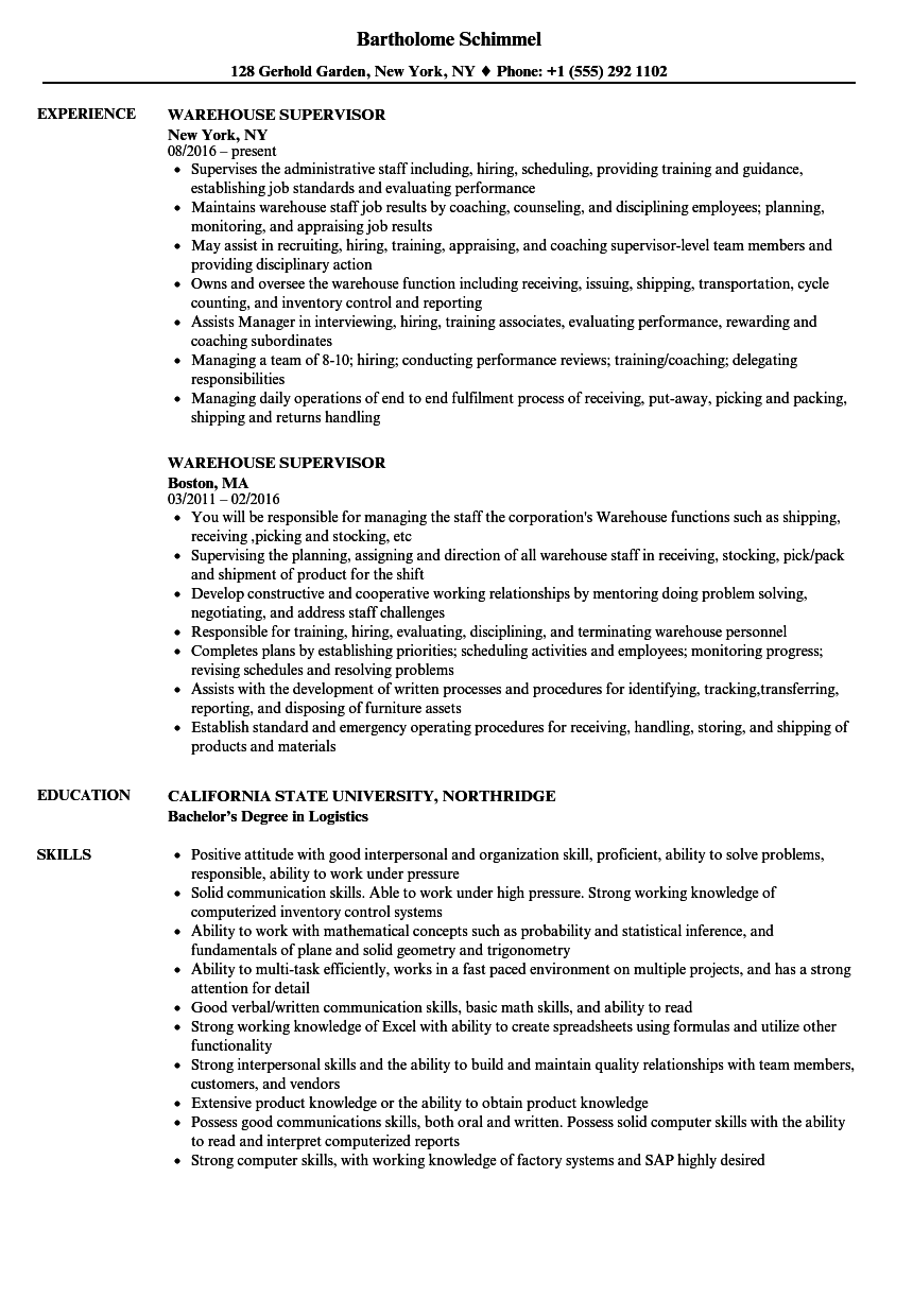 Warehouse Supervisor Resume in 2020 Warehouse jobs, Job