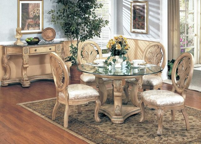 Emily Formal Dining Furniture Round Glass Top Table With Antique White Finish Round Dining Room Sets Round Glass Dining Room Table Round Dining Room