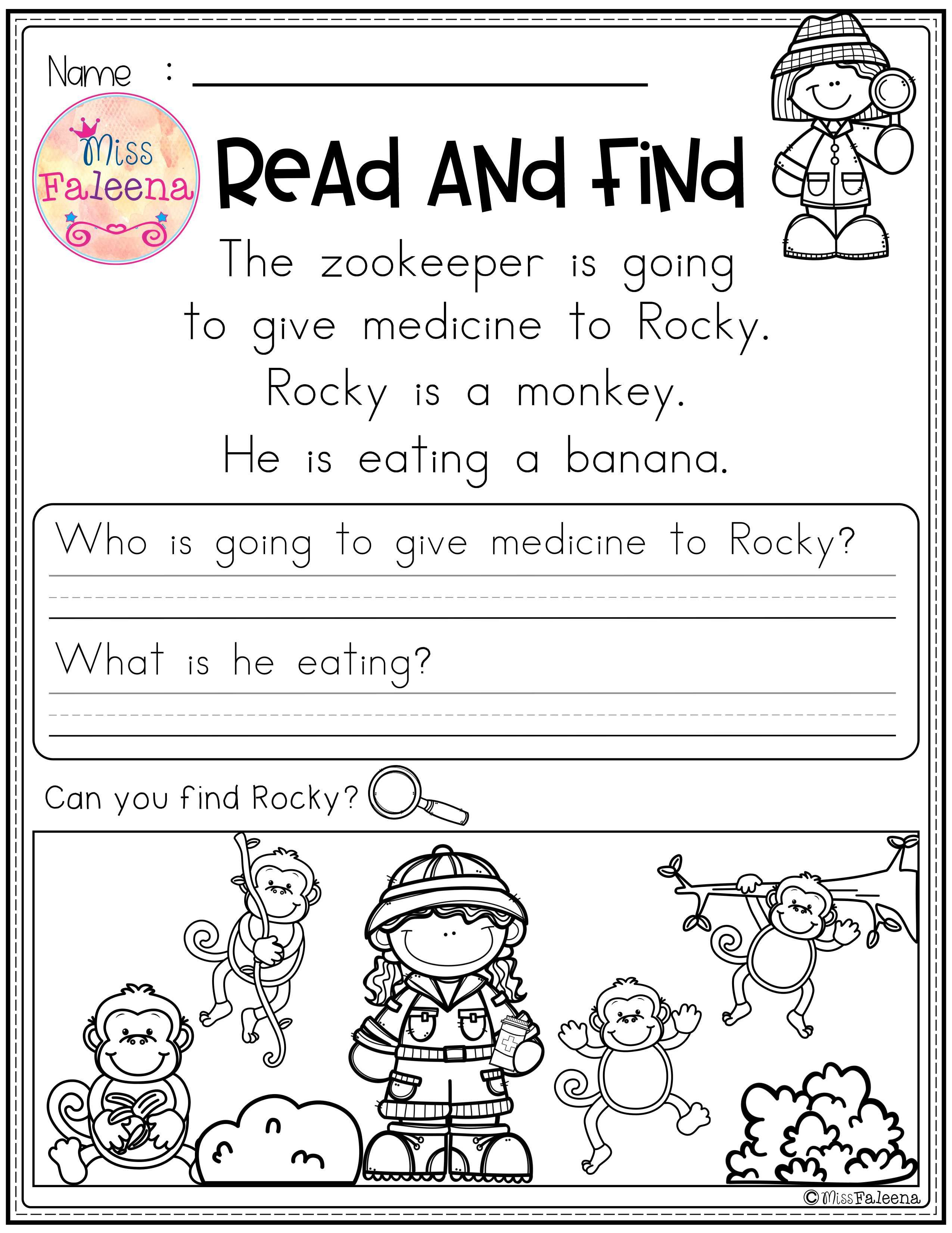 hight resolution of Free Reading Comprehension - Read and Find   Reading comprehension  worksheets