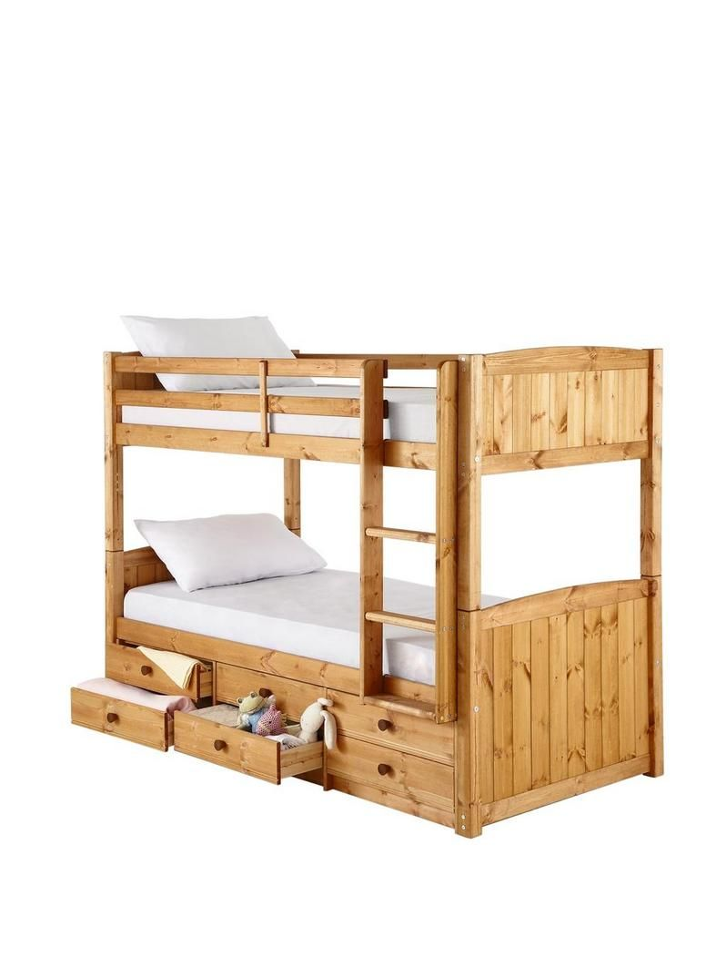 Kidspace Georgie Solid Pine Bunk Bed Frame with Storage Drawers ...