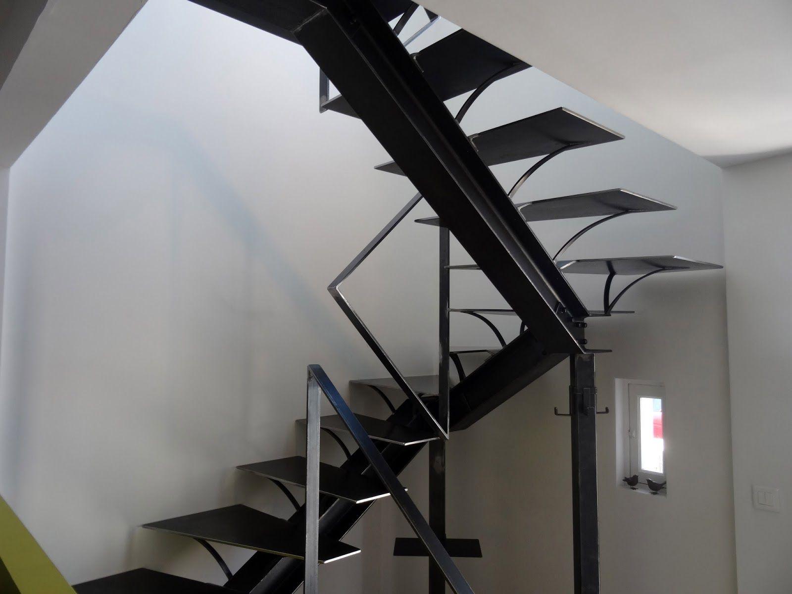Escalier+3+4+Tournant+Acier+Metal++Metallerie+L