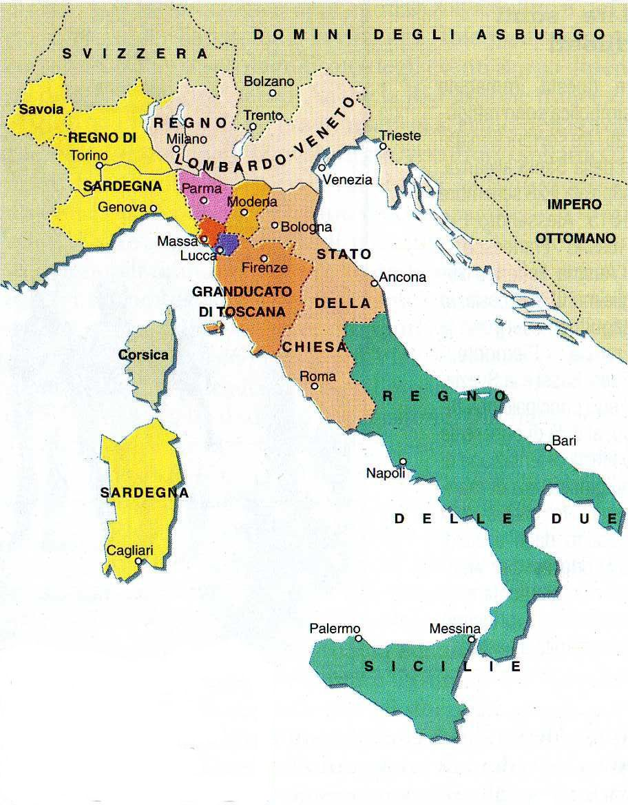 Risultati immagini per italia dopo il congresso di vienna mappa