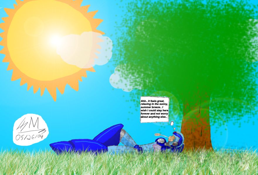 MMX, relaxing under a tree by Soldjermon on DeviantArt
