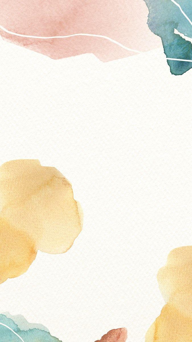 Download premium illustration of Watercolor Memphis mobile wallpaper