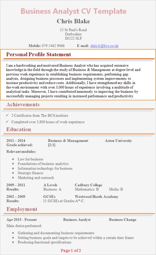 Personal Profile Cv Examples Personal Statement Examples Resume Examples Writing A Cv