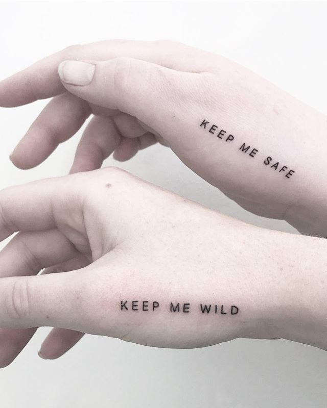 Photo of Keep me wild / keep me sake matching tattoo by @joannamroman