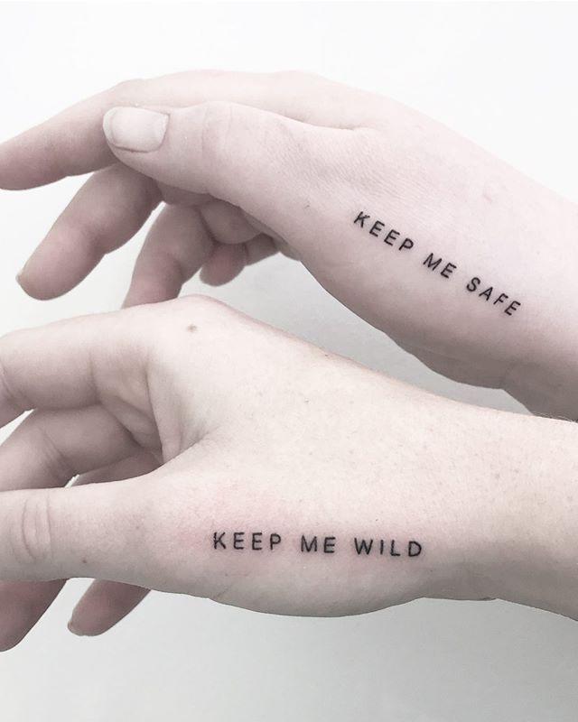 Photo of Keep me wild / keep me sake matching tattoo by @joannamroman