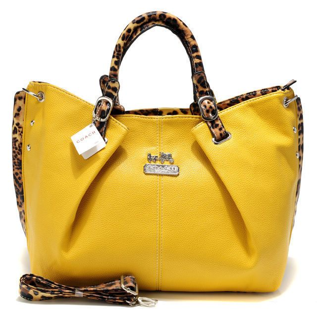 Coach Madison Leopard Large Yellow Satchels Acm Want In