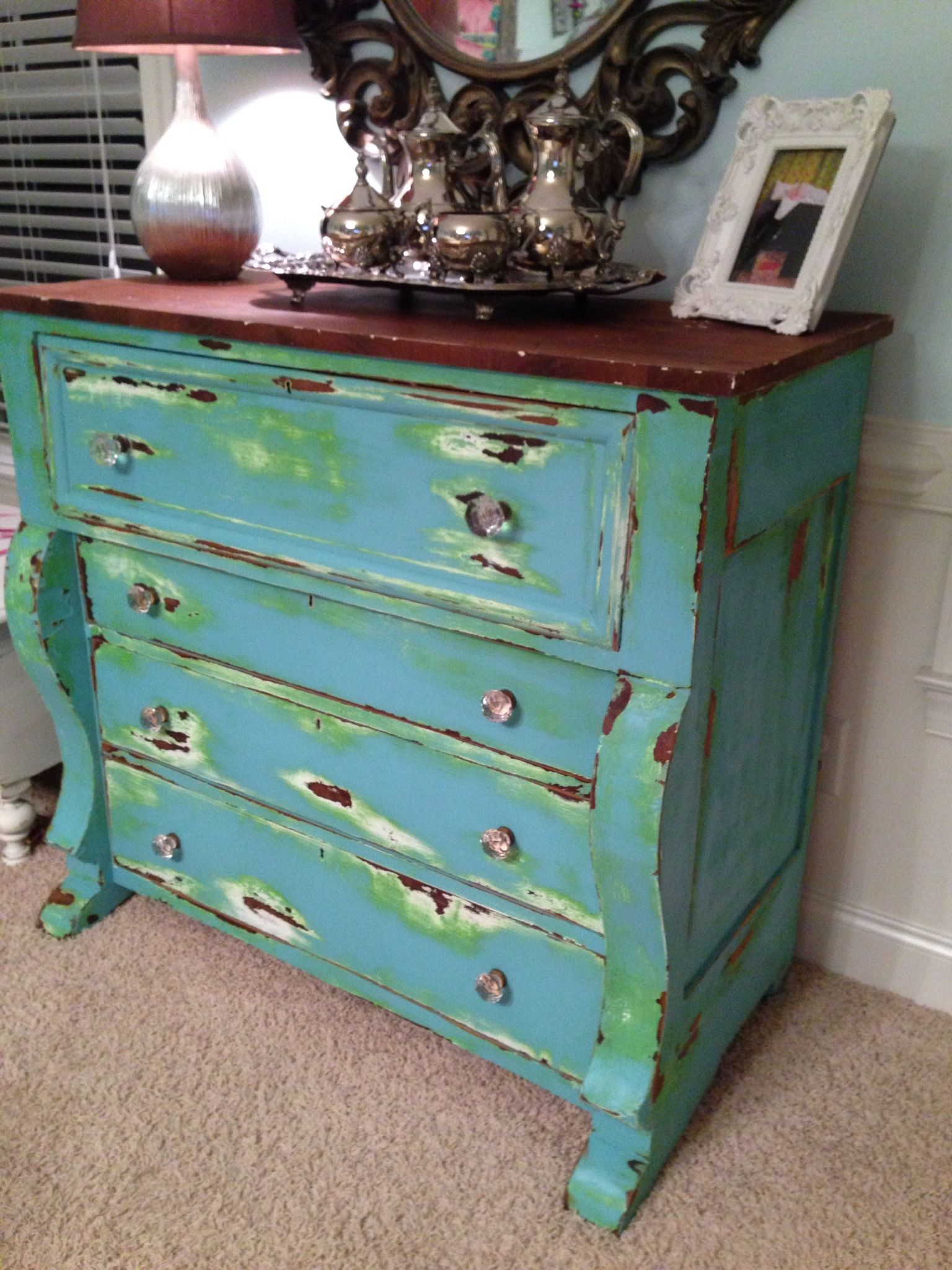 Heavily Distressed Antique Dresser Turquoise Lime Green And White Gorgeous Green Furniture Green And Green Furniture Furniture [ 2048 x 1536 Pixel ]