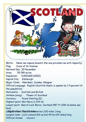 Use this information to speak about Scotland - ESL worksheets ...