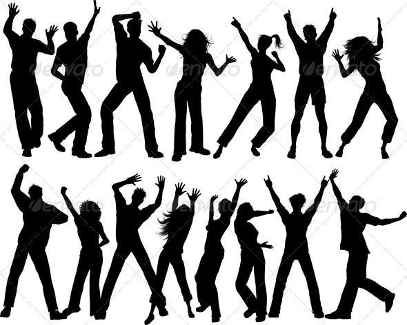 Party People People Dancing Silhouette People Party People