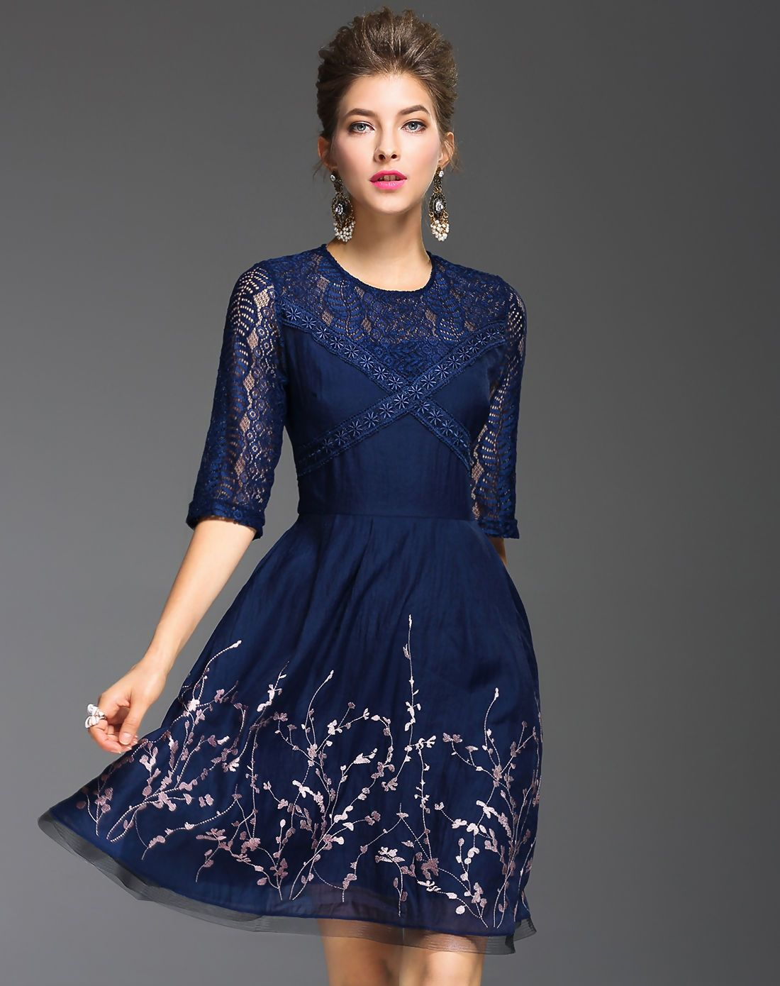 Blue floral embroidery lace paneled aline dress i found this