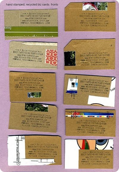 13 creative business cards great idea pinterest business cool urban way to make your own business cards just stamp your info onto recycled paper cards reheart Images