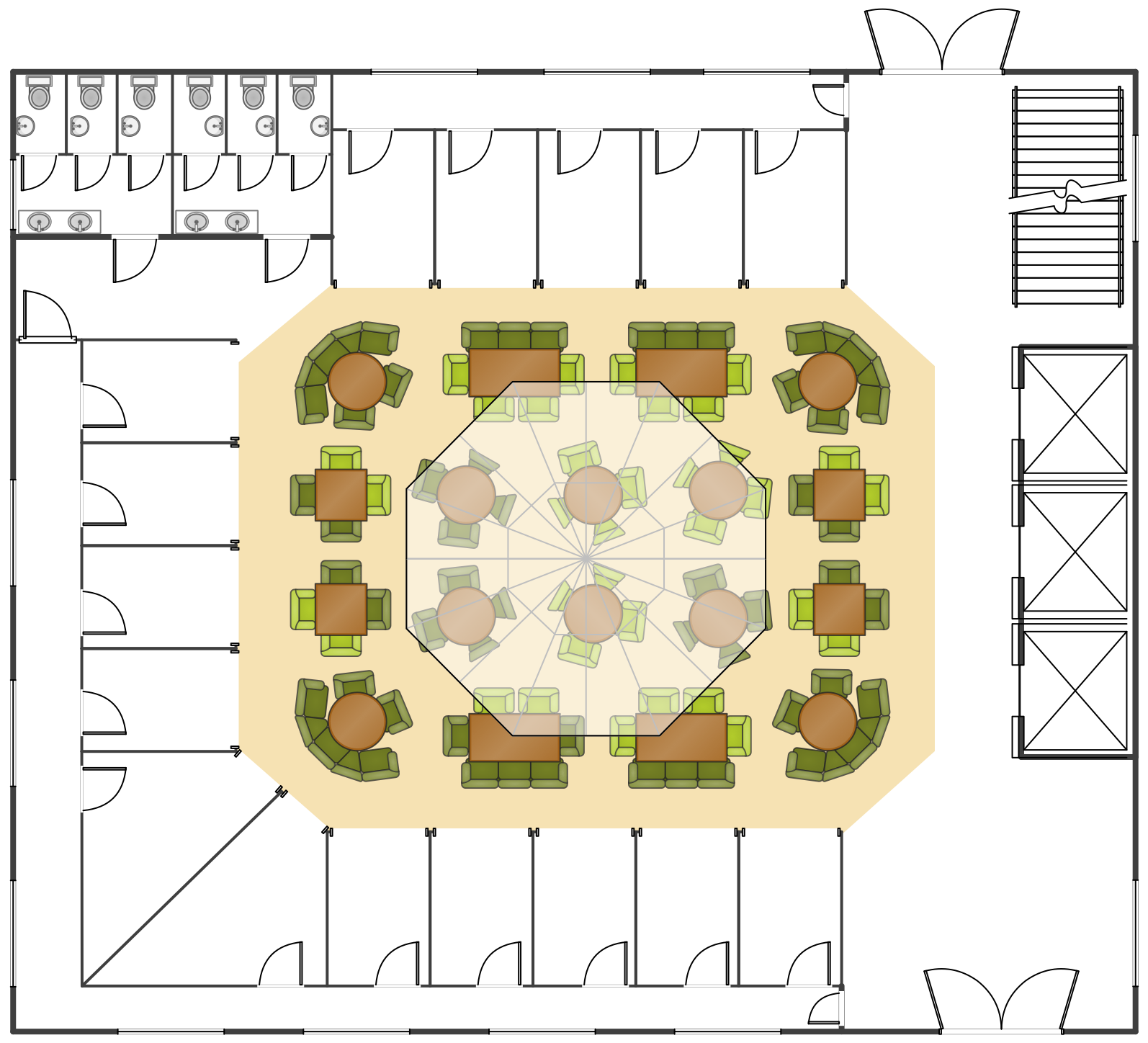Food Court Floor Plan This Example Was Created In Conceptdraw Pro Using The Libraries From The Floor Plans Food Court Design Parking Design Restaurant Plan