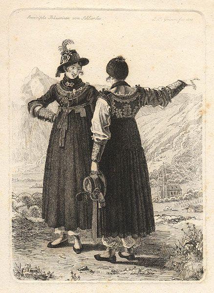 Kupferstich Von Ludwig Emil Grimm 1813 Baierische Bauerinnen Vom Schliersee Miesbach Afbeeldingen