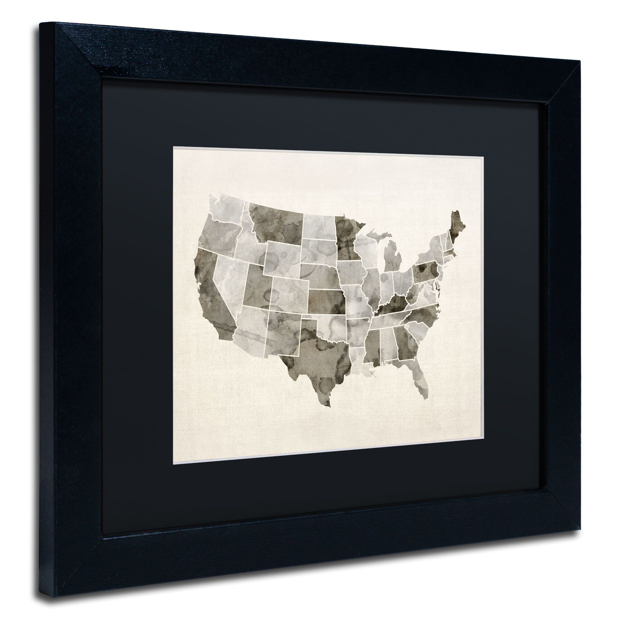 United States Watercolor Map By Michael Tompsett Framed Graphic - United states watercolor map