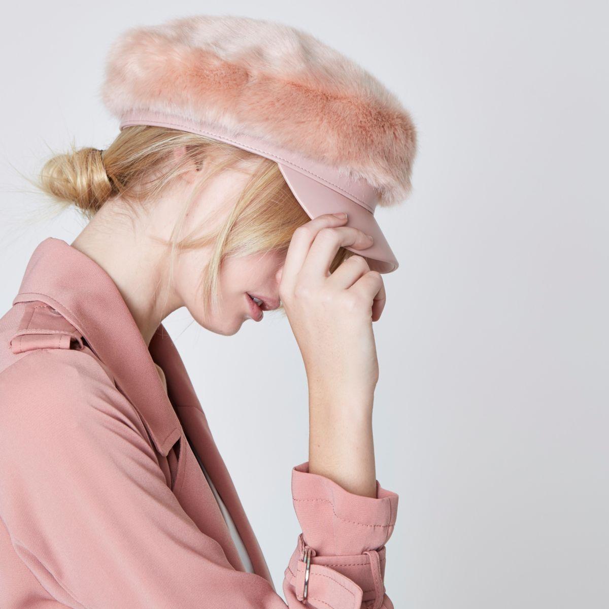 pink faux fur baker boy hat for women 76fdecf36d