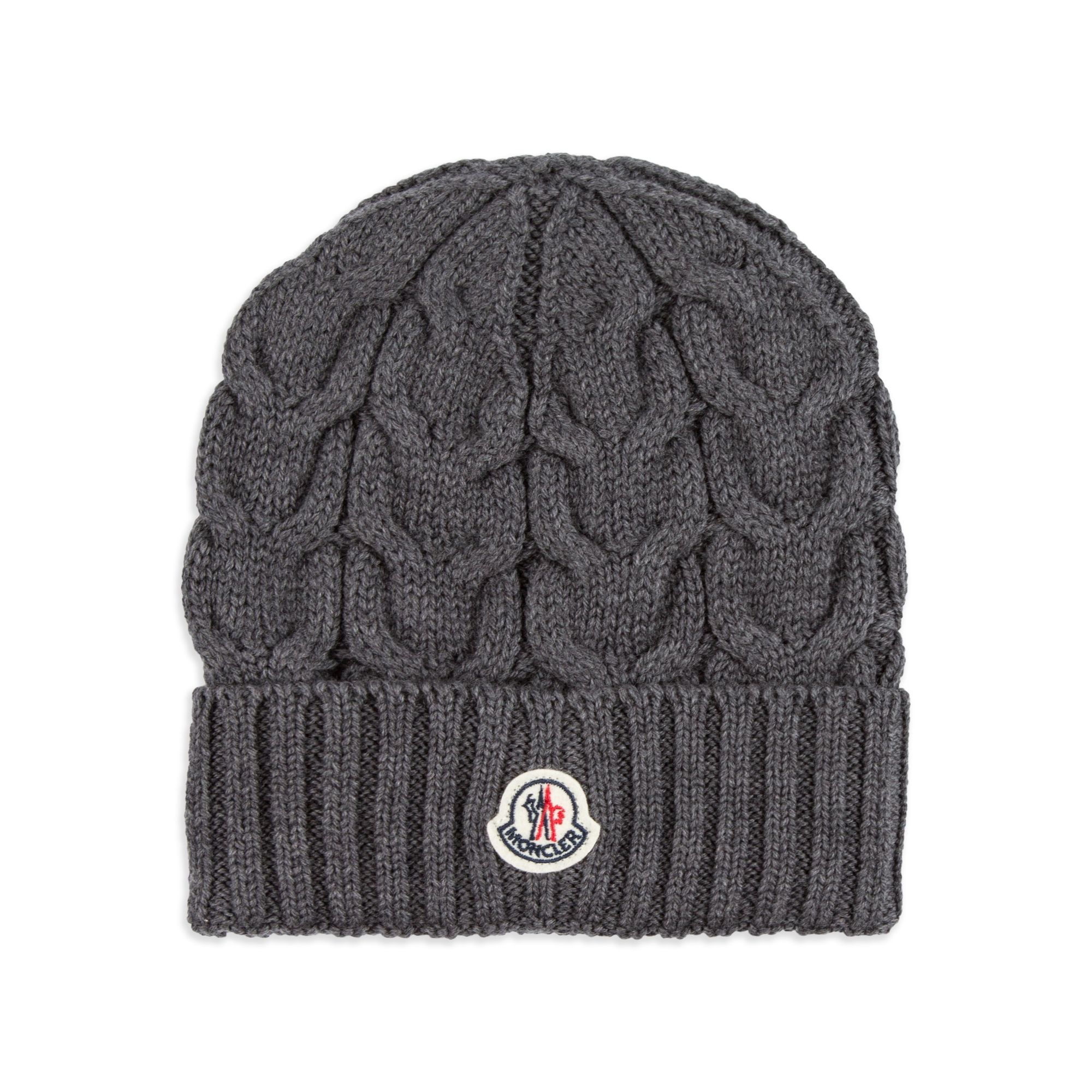 fa6bc8e3a32 MONCLER Boys Wool Cable Knit Hat - Grey Boys beanie hat • Soft virgin wool  • Turn up brim • Cable knit design • Signature logo motif • Made in Italy  ...