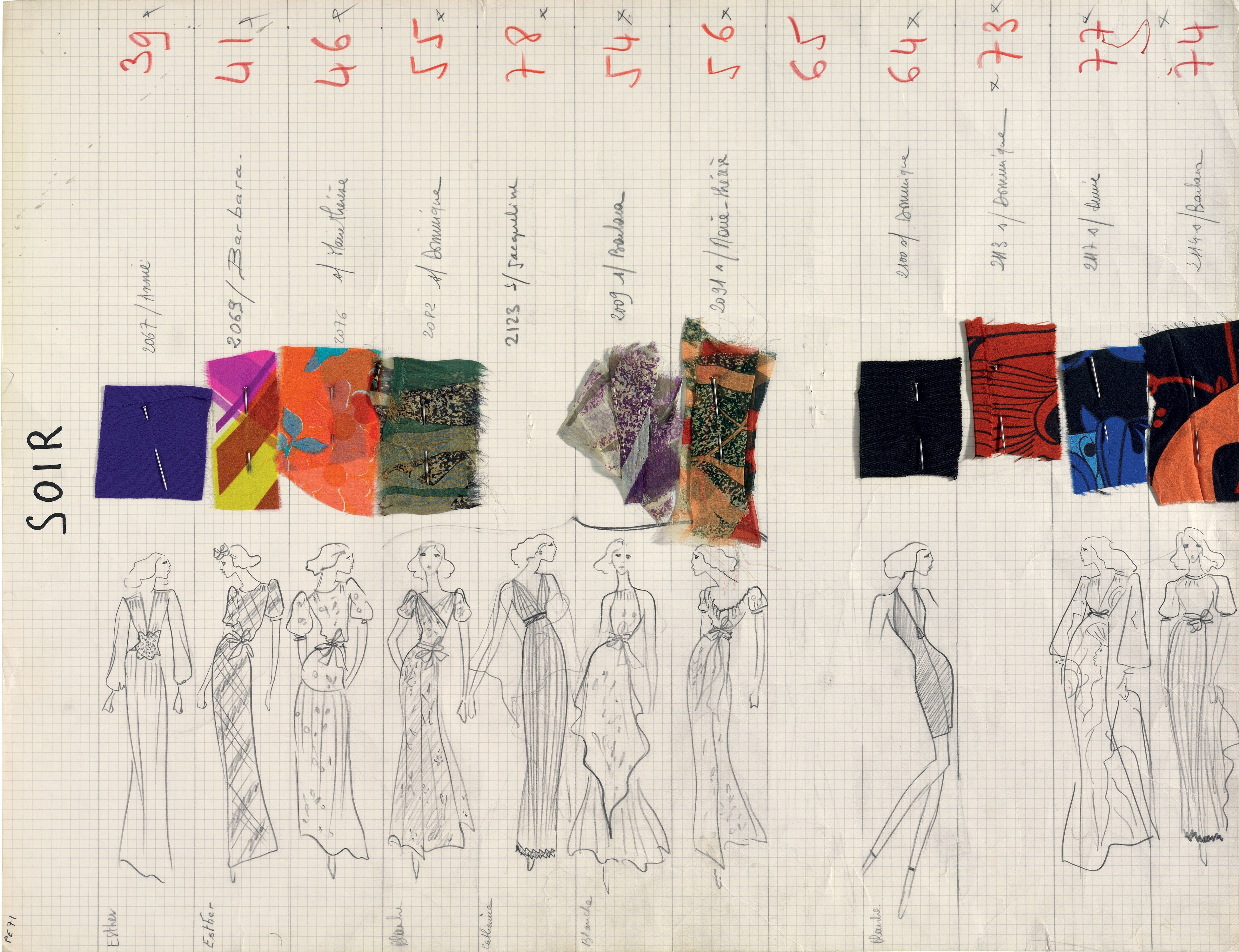 54019710d7c Soir Spring 1971 Haute Couture collection board, Yves Saint Laurent. Mixed  media on thick grid paper pinned with fabric swatches.