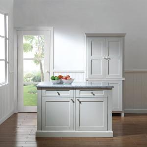 Martha Stewart Living Maidstone 54 in. White Kitchen Island ...