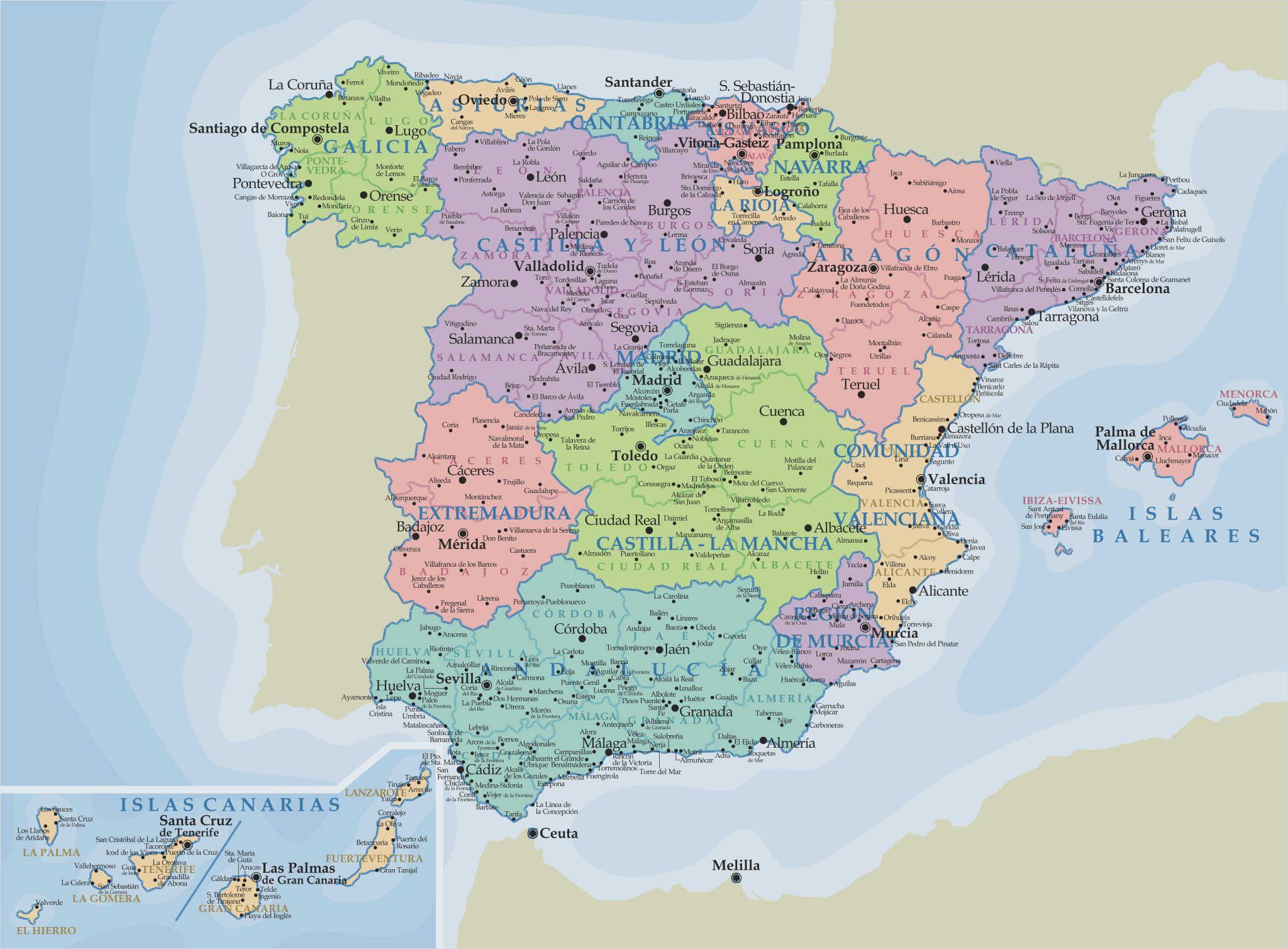 Carte Espagne Benalmadena.Carte Espagne Cartes Espagne Carte Espagne Et Voyage