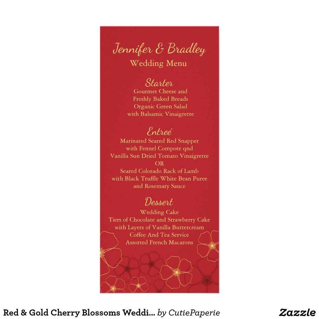 Red & Gold Cherry Blossoms Wedding Reception Menu | Red gold, Cherry ...