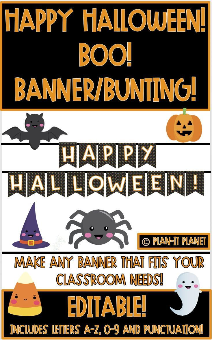 HAPPY HALLOWEEN!/ BOO! BANNER! Editable (With images