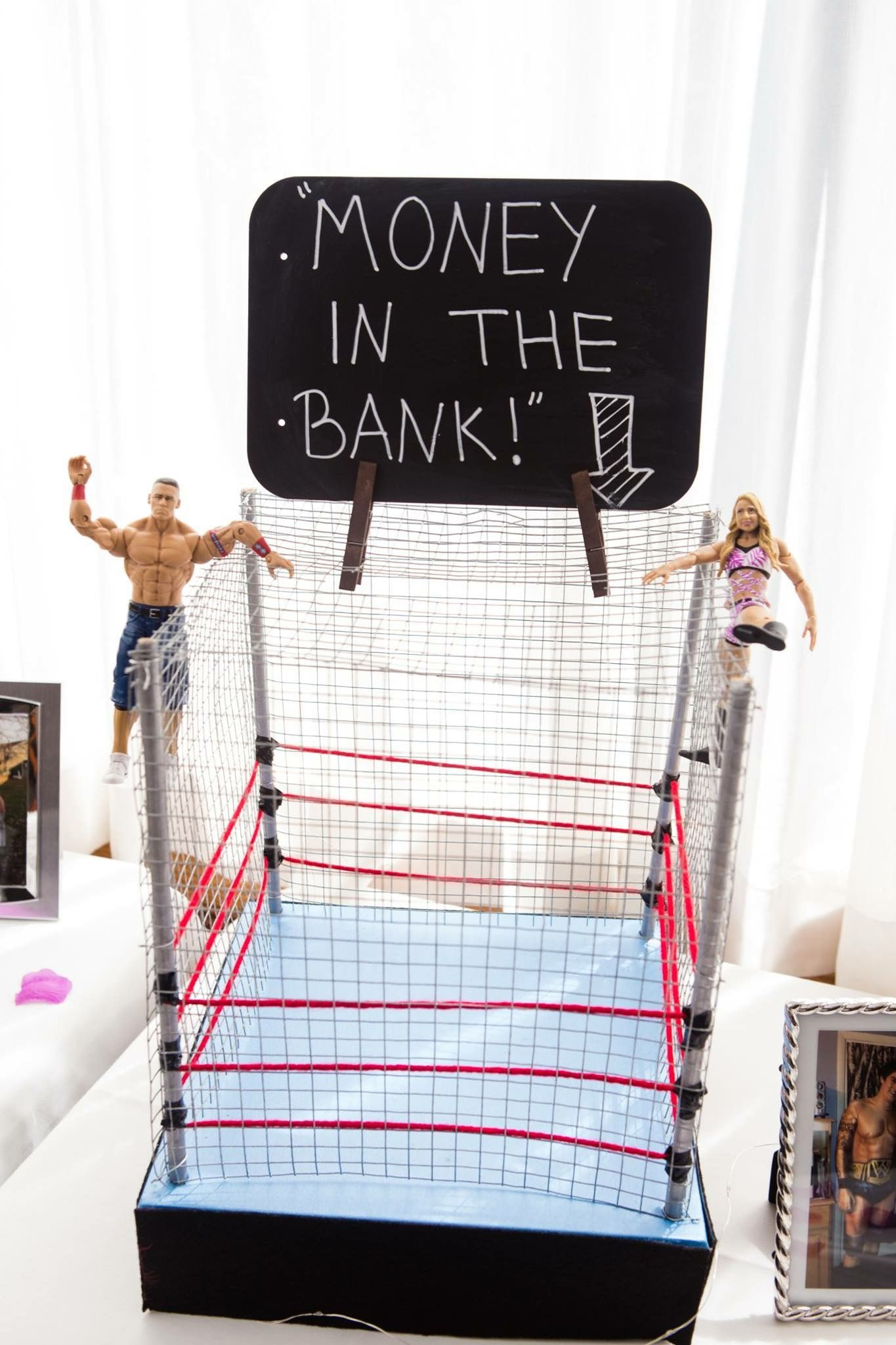 DIY wwe wrestling ring wedding money and card holder cage. | Checked ...