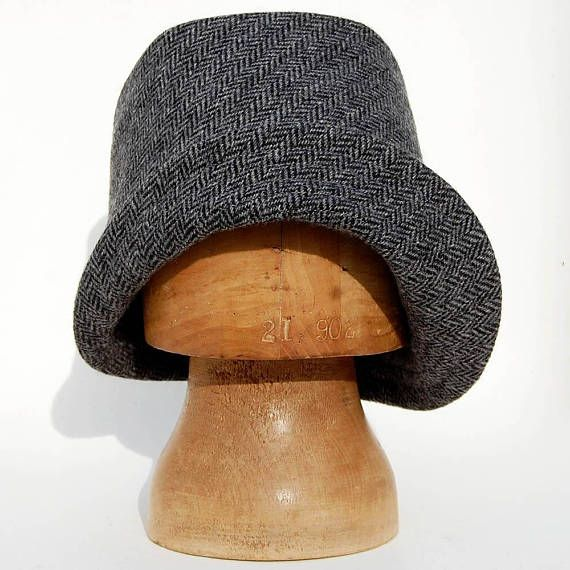 4451bbf1c8a Womens handmade winter hat pure wool fashion hat in grey and black Harris  tweed
