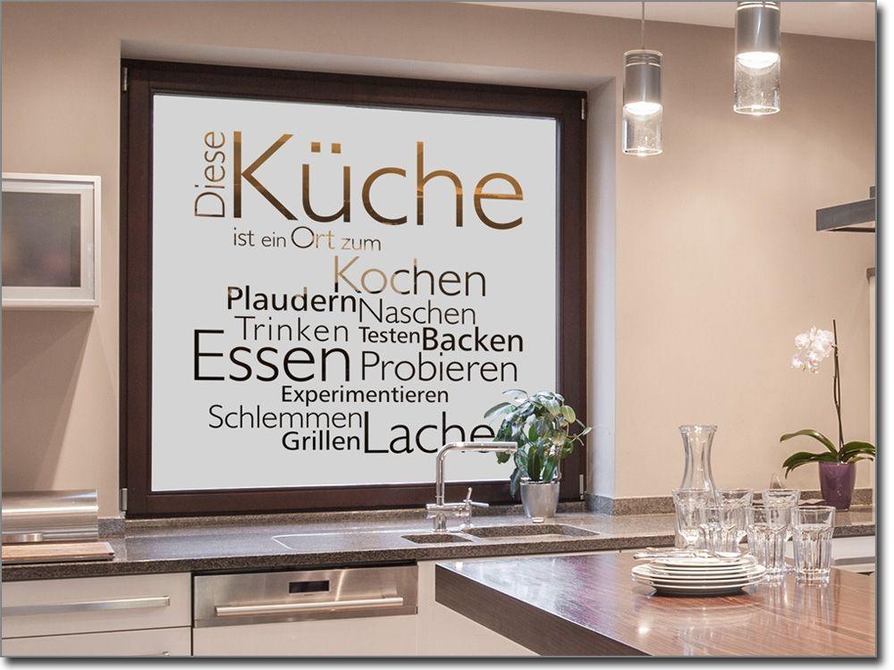 Fensterfolie mit begriffen zum Thema Küche als Sichtschutz