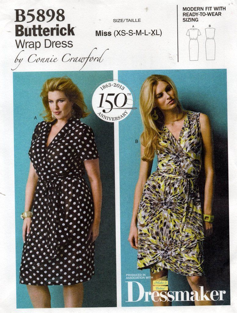 Butterick B5898 Womens Connie Crawford Wrap Dress Out Of Print Sewing Pattern Size Xs Xl Uncu Wrap Dress Sewing Patterns Wrap Dress Pattern Womens Wrap Dress [ 1024 x 776 Pixel ]