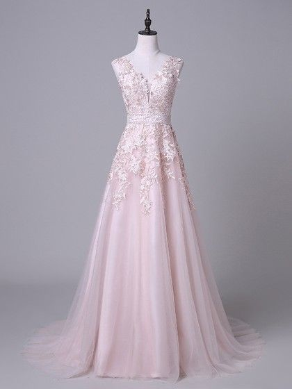 Sweet Princess V-neck Tulle Court Train Appliques Lace Pink Backless ...