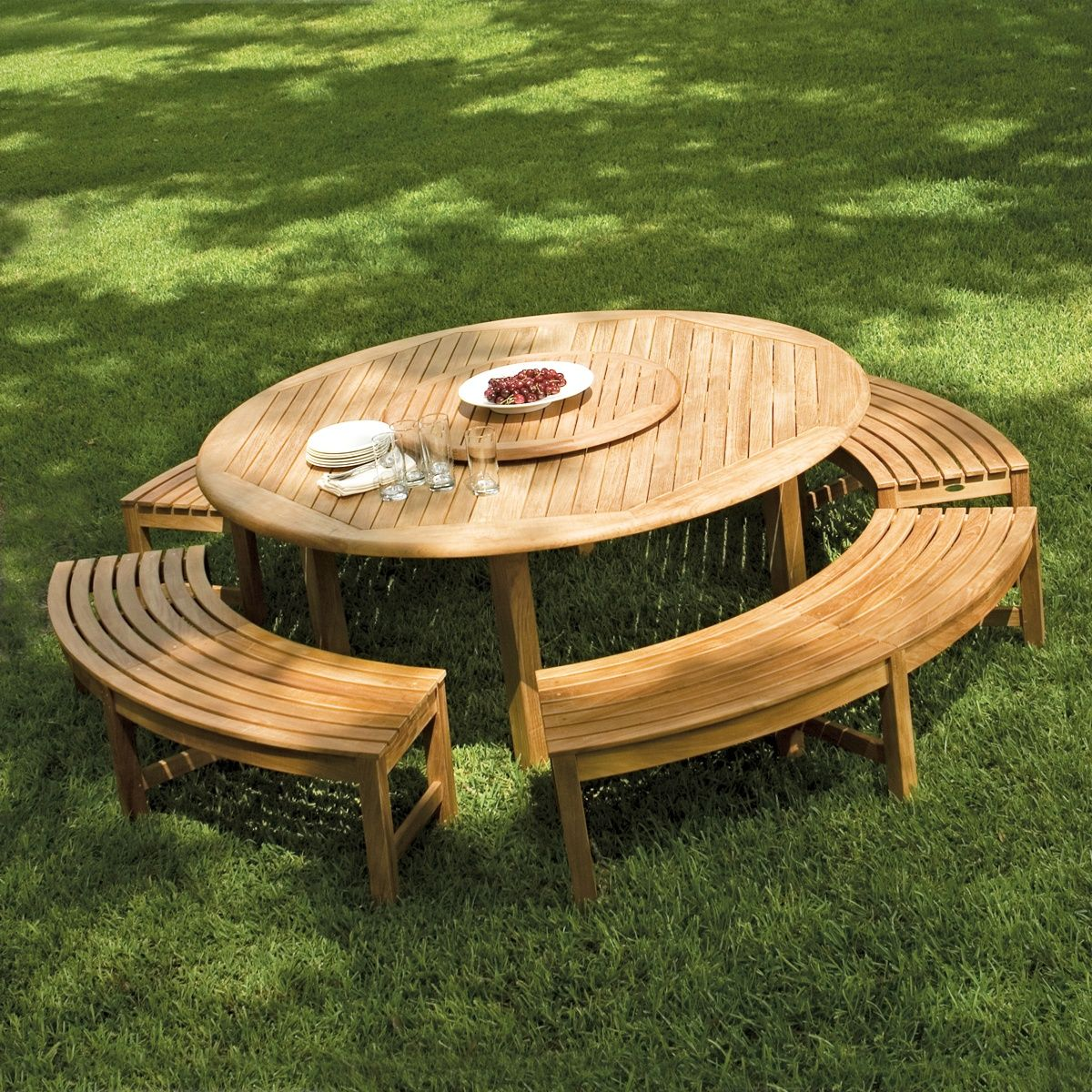 Buckingham Backless Set Round Outdoor Table Outdoor Picnic