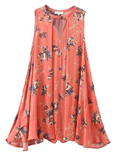 99fc4cd09a307f Choies Womens Floral Sleeveless Cut Out Boho Beach Swing Mini Sun Dress M *  Find out more about the great product at the image link.